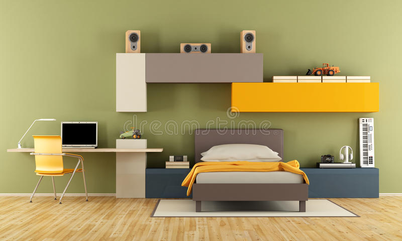Download Modern Teenage Boy Bedroom Stock Illustration. Illustration Of  Cabinet   72011744