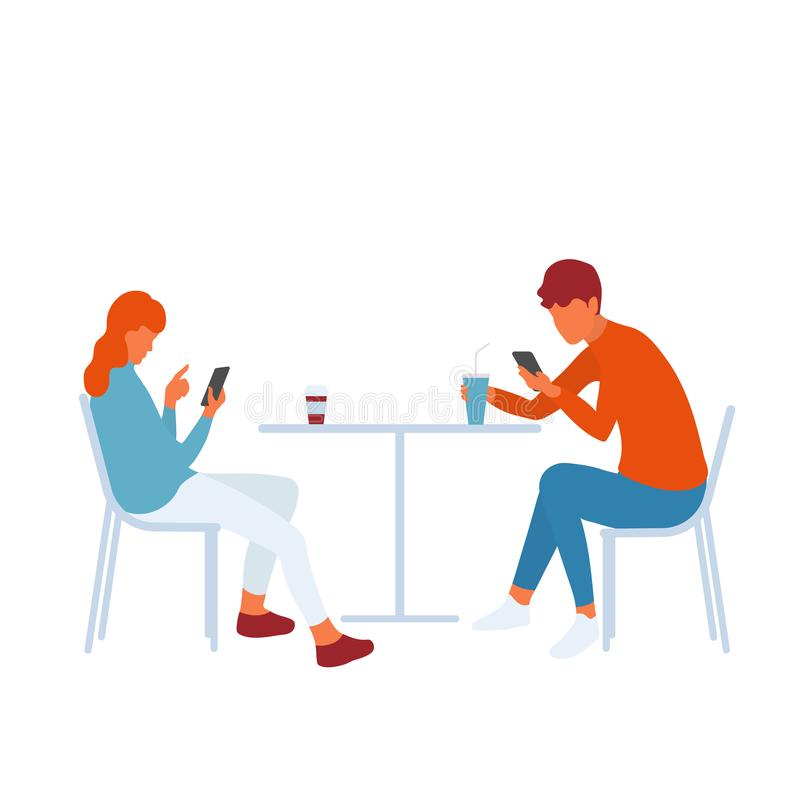 Modern teenage friends or couple using smartphones and getting distracted royalty free illustration