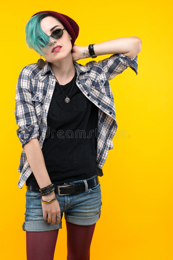 Modern teenager. colour / colorful hairstyle royalty free stock photos