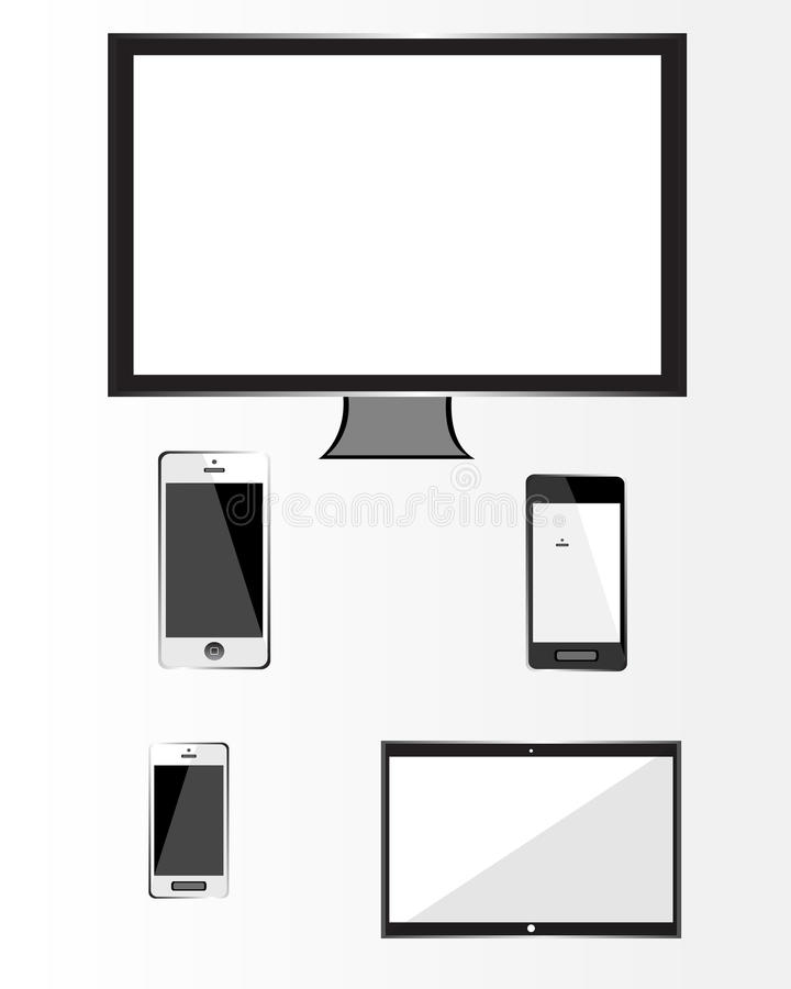 Modern tehnology devices set royalty free illustration