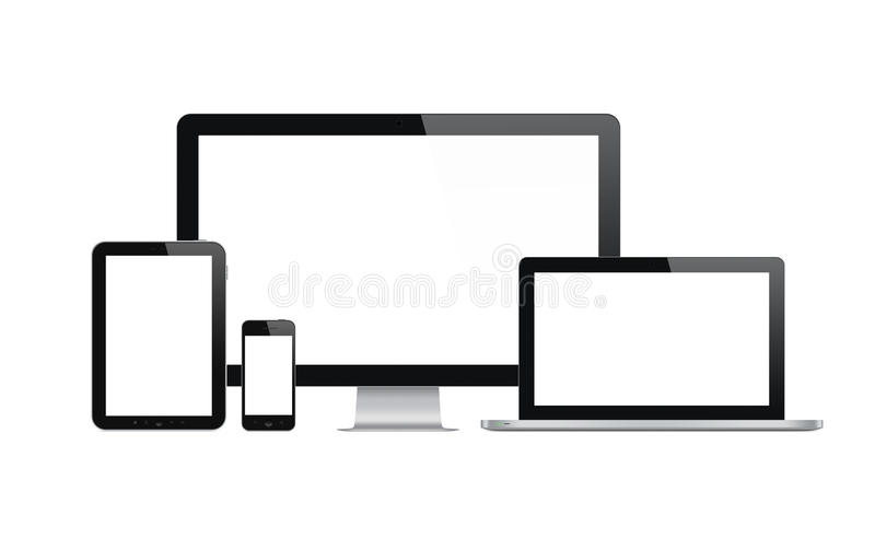 Modern tehnology devices set. High quality illustration set of modern technology devices - computer monitor, laptop, digital tablet and mobile phone with blank stock illustration