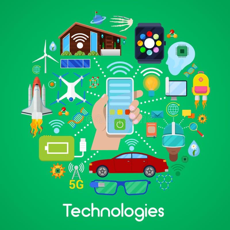 Modern teknologisymbolsuppsättning med det smarta huset och Quadrocopter royaltyfri illustrationer