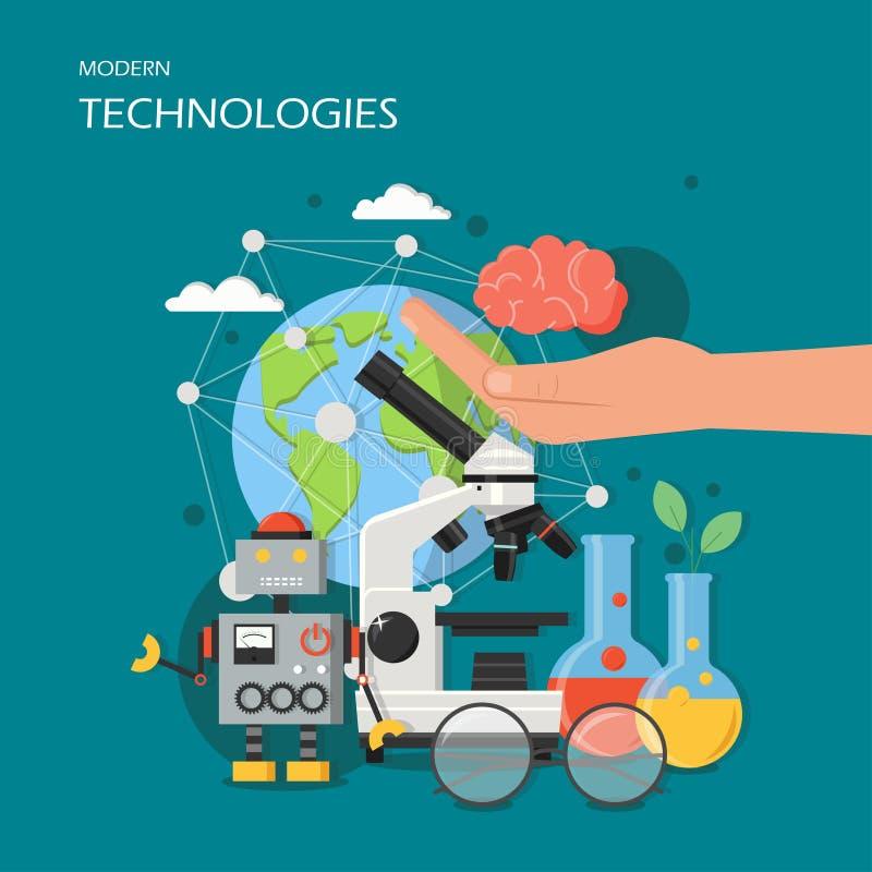 Modern teknologivektorillustration i plan stil stock illustrationer