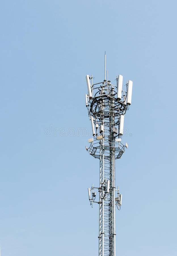 Modern telecommunication tower. In the countryside area stock photography