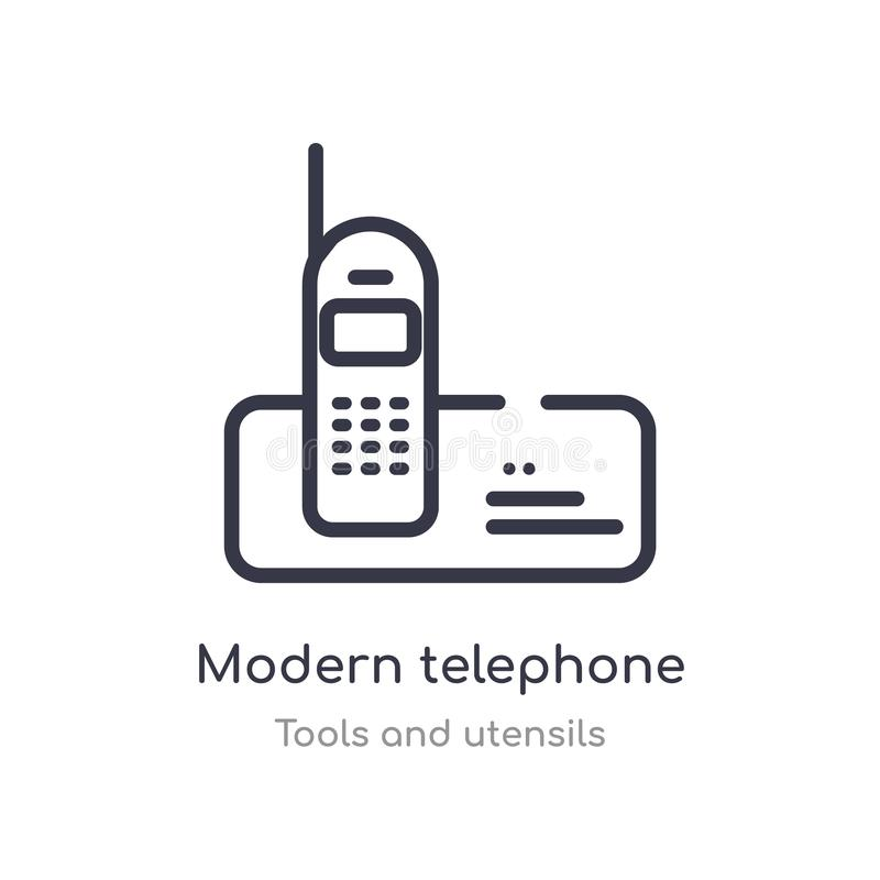 Modern telephone outline icon. isolated line vector illustration from tools and utensils collection. editable thin stroke modern. Telephone icon on white vector illustration