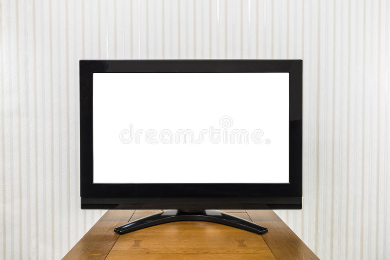 Modern Television on Wood Table with Cut Out Screen royalty free stock image