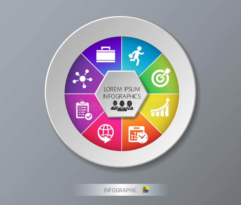 Modern template for business project or presentation with circle. Vector illustration infographic can be used for web royalty free stock photography