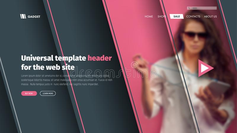 Modern Template header site with a place for photos on the soaring elements. Design of a banner landing page for the web. Vector illustration royalty free illustration