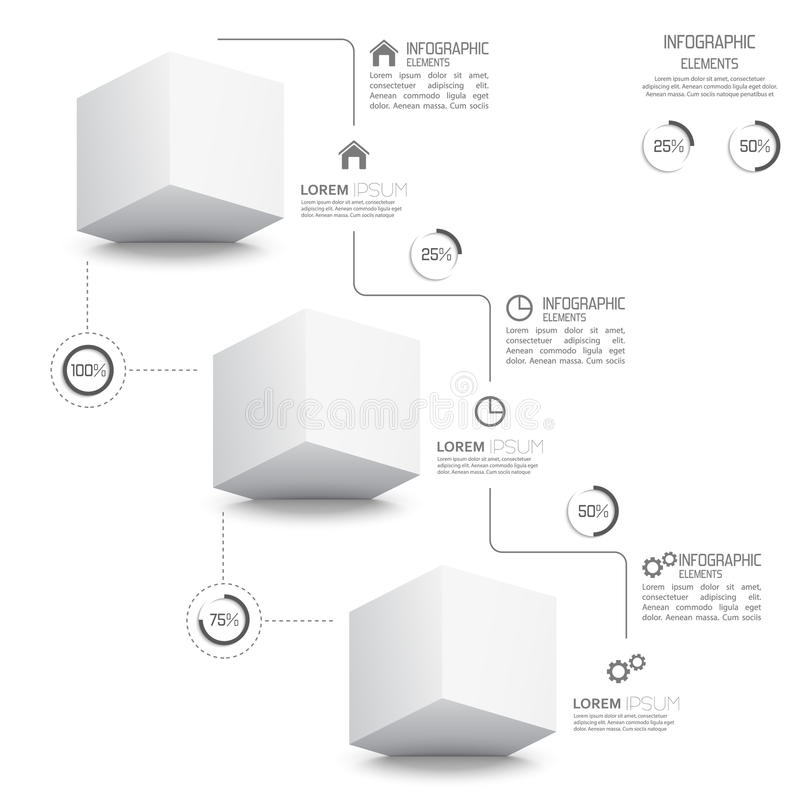 Modern template with monochromatic volume cube stock illustration