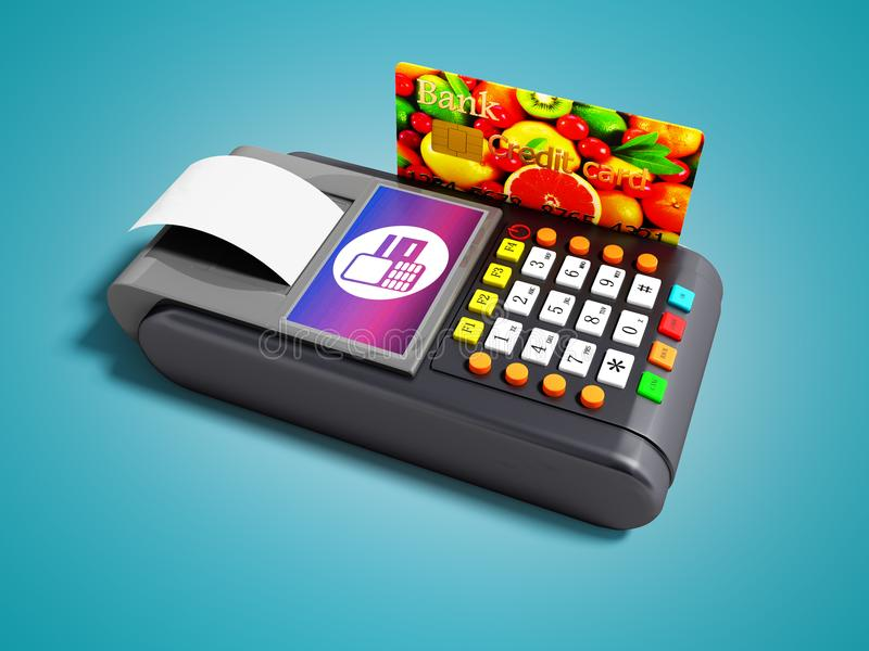 Modern terminal of payment card POS terminal with credit card and receipt 3d render on blue background with shadow stock illustration