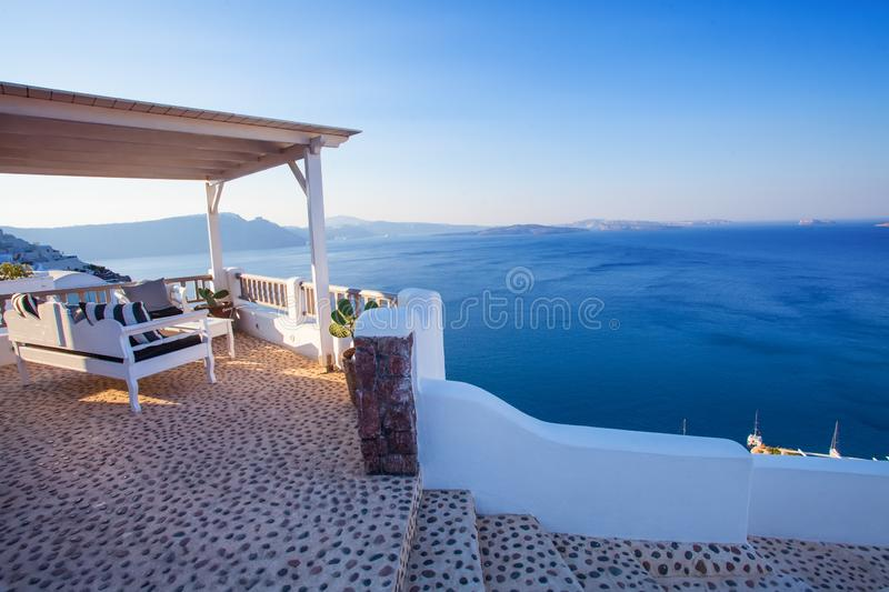 Modern terrace lounge and pergola with sea view. Vacation and holiday concept.  stock photos