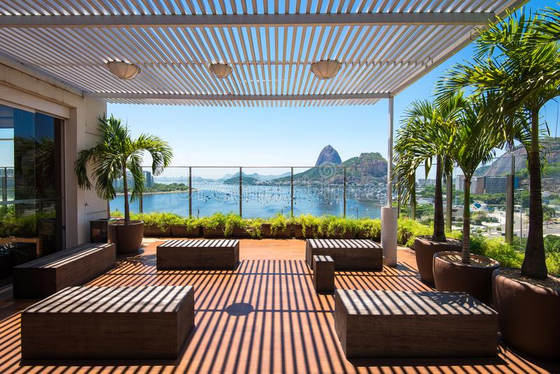Terrace With Beautiful View in Rio de Janeiro royalty free stock photography