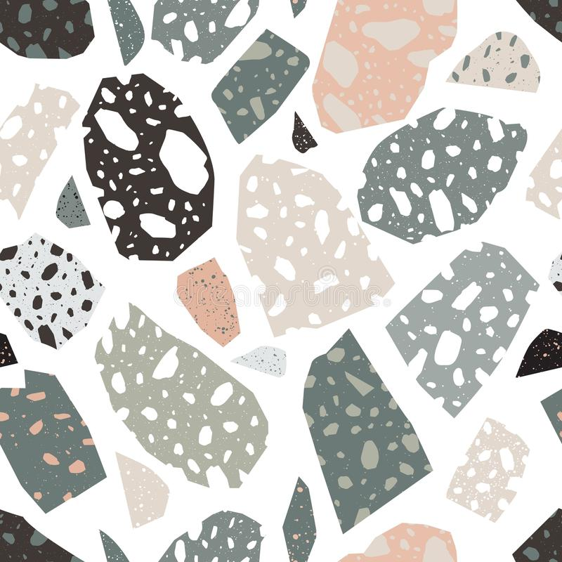 Modern terrazzo texture. Seamless pattern with colored stone fractions or pieces scattered on white background. Creative royalty free illustration