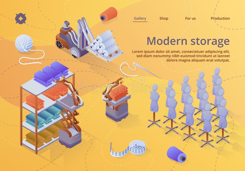 Modern Textile Factory Storage Banner. Equipment royalty free illustration