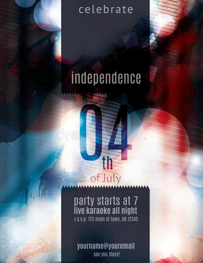 Modern 4th of July grunge flyer template royalty free illustration