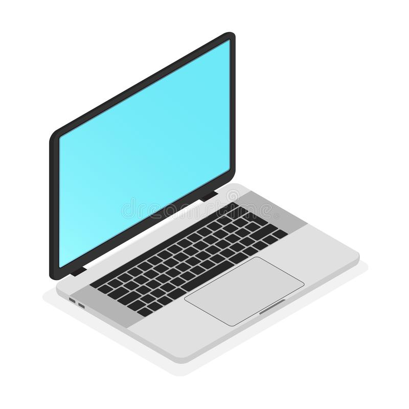 Modern thin Laptop isometric icon vector Illustration. stock illustration