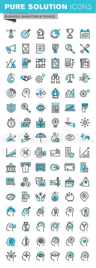 Modern thin line flat design icons set of business, finance and human resources royalty free illustration