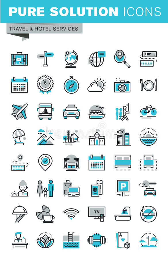 Modern thin line flat design icons set of travel and tourism sign and object. Holiday trip planning, hotel services, accommodation. Outline icon collection for royalty free illustration