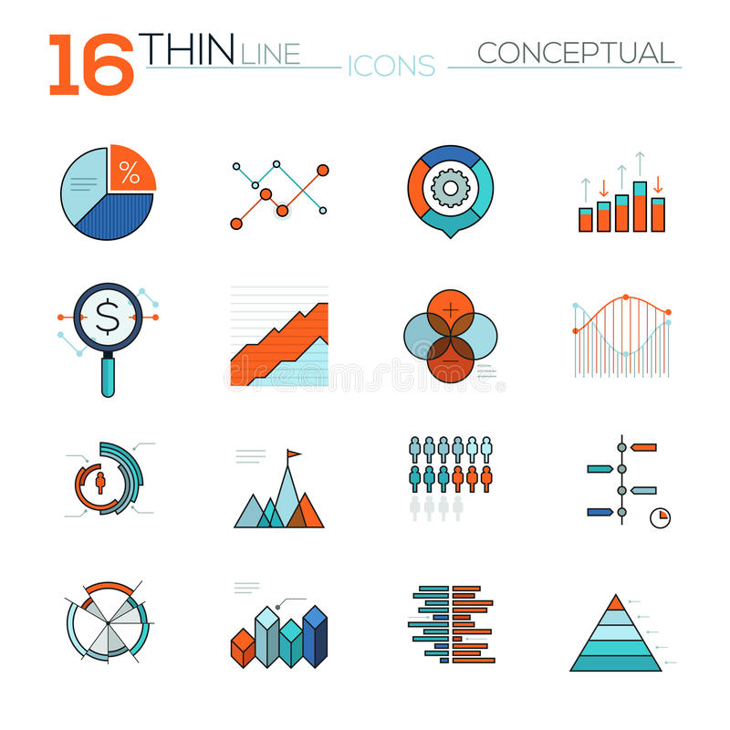 Modern thin line flat icons vector collection in stylish colors of messages. Modern thin line flat vector icons set of graphics, charts, analysis tools. Premium royalty free illustration