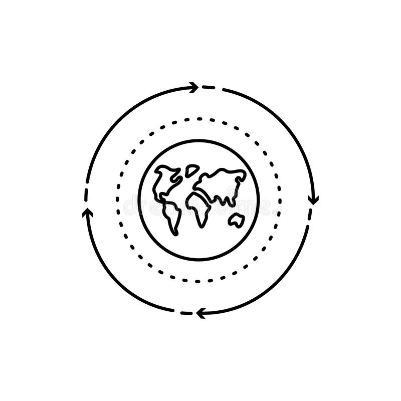 Modern thin line icon of planet. Premium quality outline symbol. Simple mono linear pictogram, drawing, art, sign. Stroke l royalty free illustration