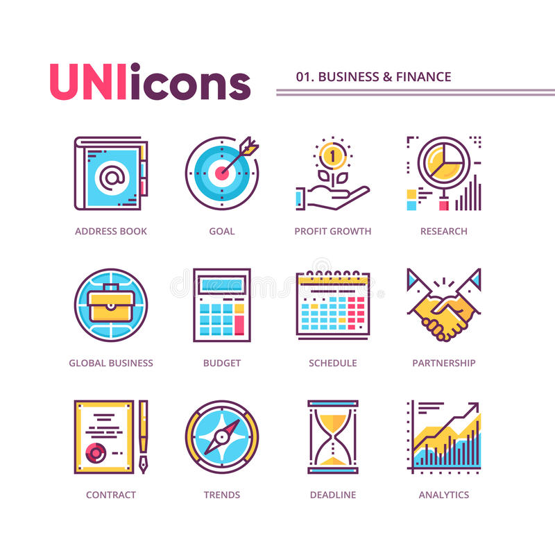 Modern thin line icons collection of business and finance. Global colors. Vector pack for web graphics or print. royalty free illustration