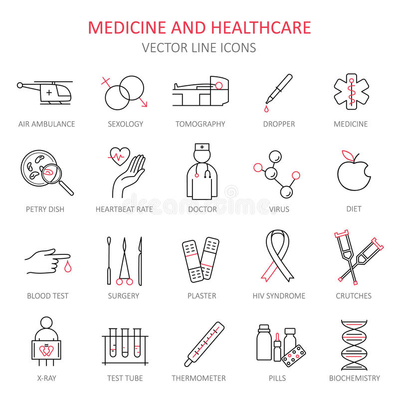 Modern thin line of icons on medicine. royalty free illustration