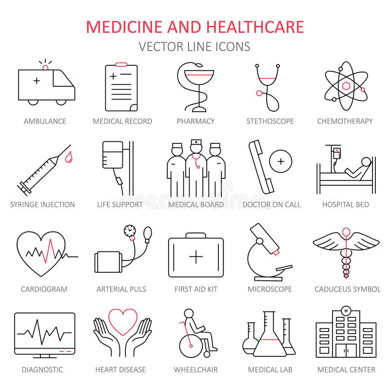 Modern thin line of icons on medicine. stock illustration