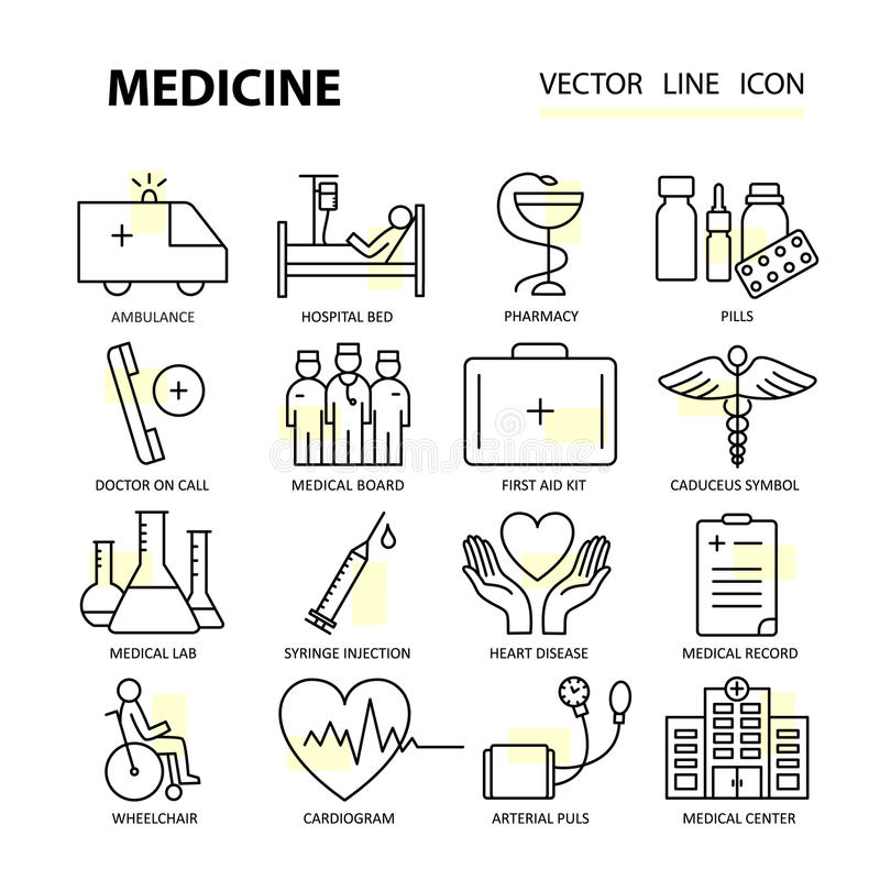 Modern thin line of icons on medicine and health symbols. vector illustration