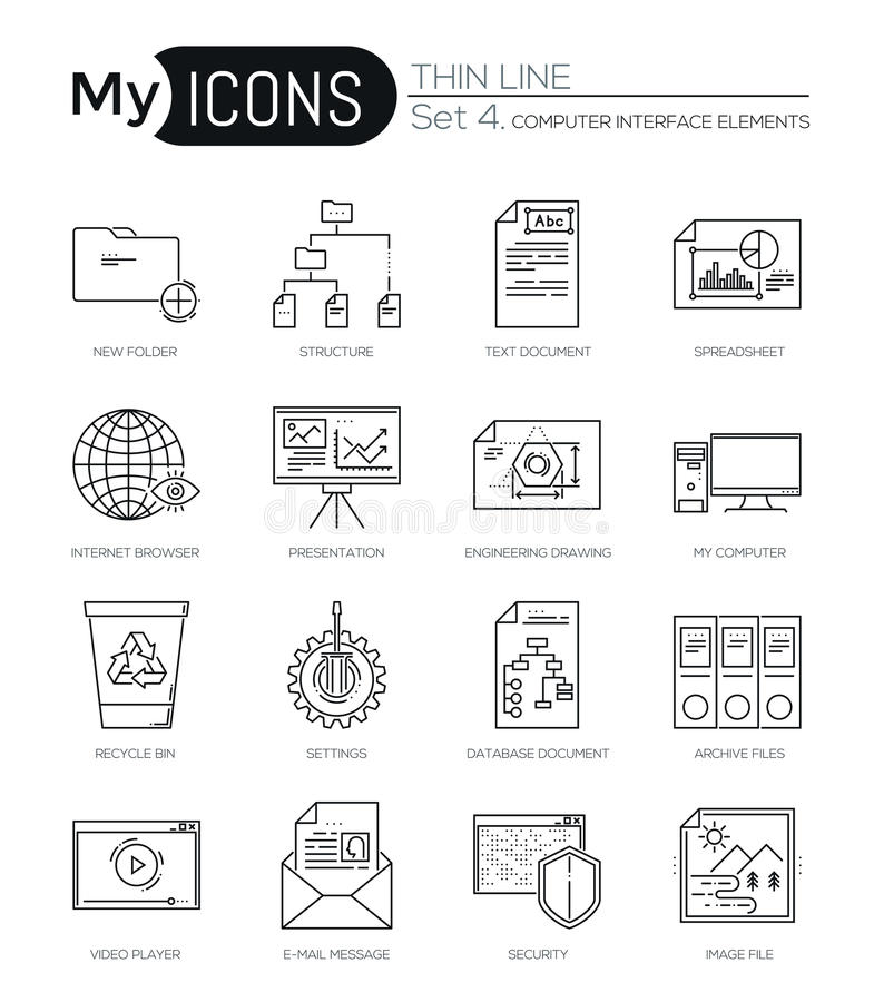 Modern thin line icons set of computer interface elements. Premium quality outline symbol collection. Simple mono linear pictogram pack. Stroke vector logo royalty free illustration