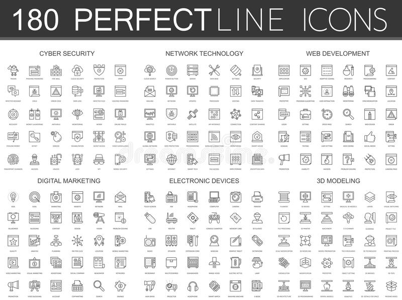 180 modern thin line icons set of cyber security, network technology, web development, digital marketing, electronic stock illustration