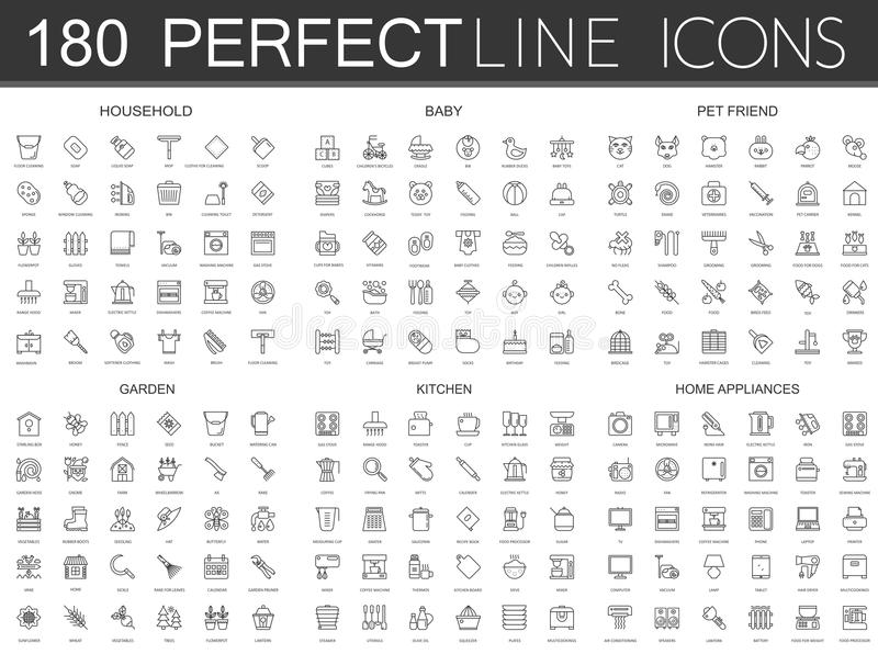 180 modern thin line icons set of household, baby, pet friend, garden, kitchen, home appliances. royalty free stock photography
