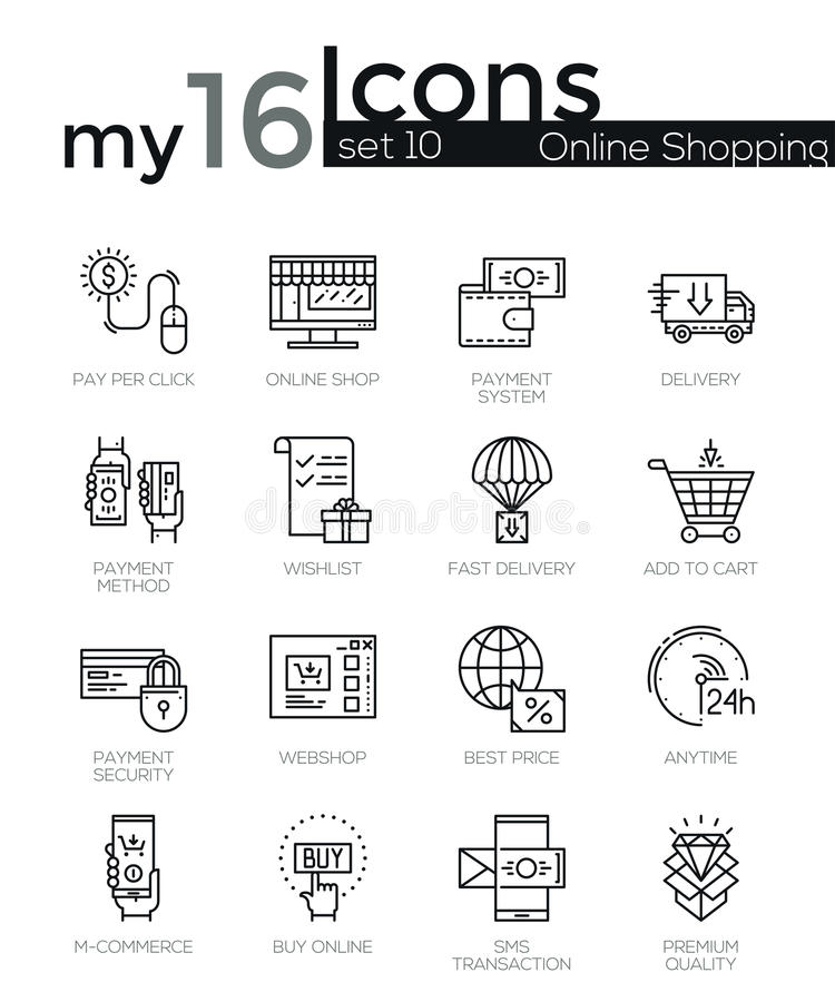 Modern thin line icons set of internet shopping. Retail store and online sales. Premium quality outline symbol collection. Simple mono linear pictogram pack royalty free illustration