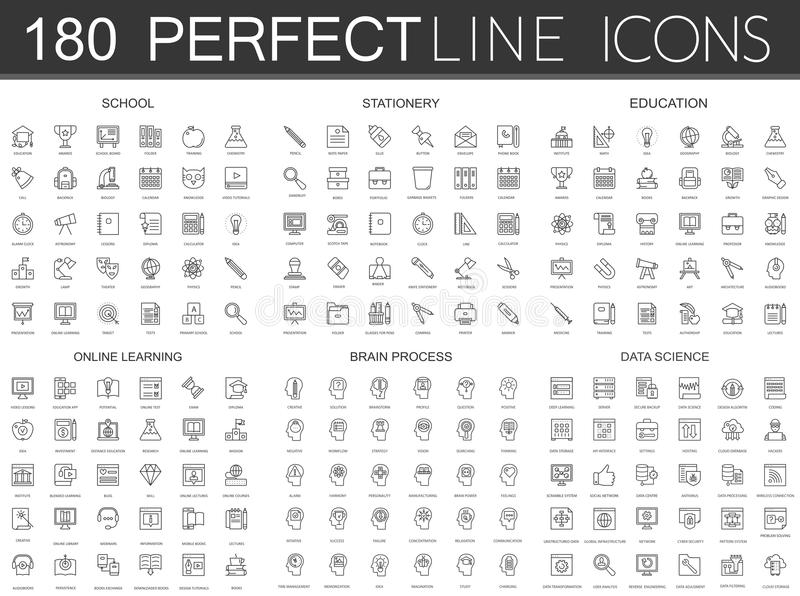 180 modern thin line icons set of school, stationery, education, online learning, brain process, data science. royalty free illustration