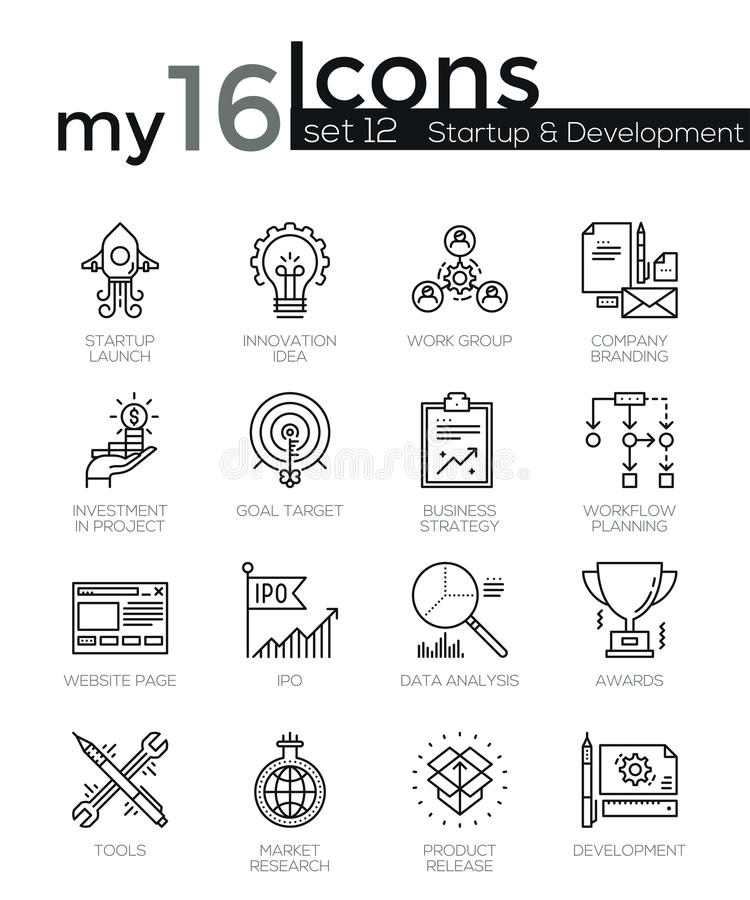 Modern thin line icons set of startup business and launch new product on market vector illustration