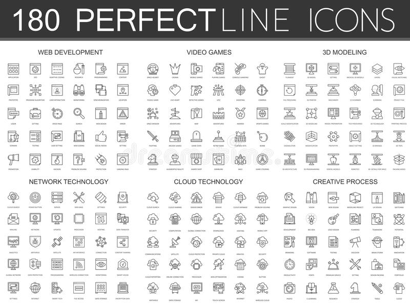 180 modern thin line icons set of web development, video games, 3d modeling, network technology, cloud data technology royalty free illustration
