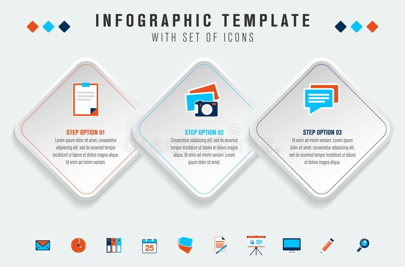 Modern three step infographics template royalty free illustration