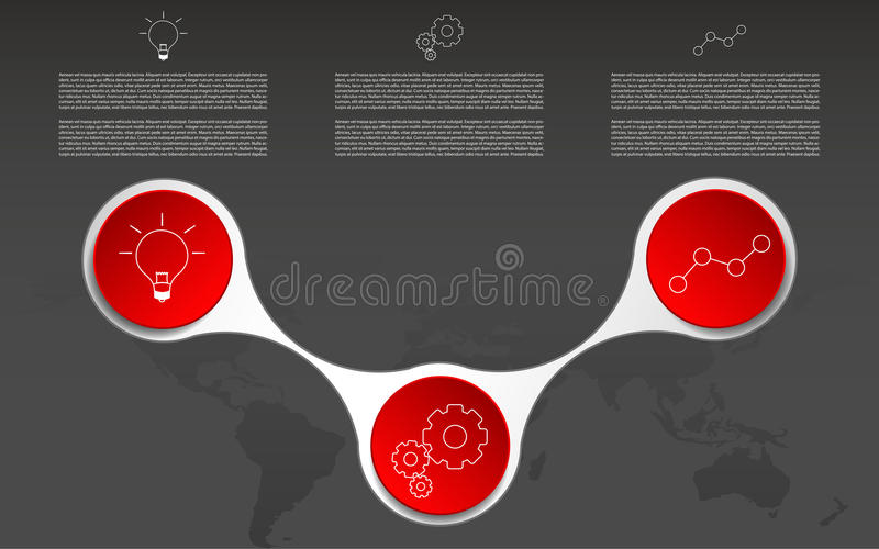 Modern three steps infographic. Infographics with outline icons stock illustration
