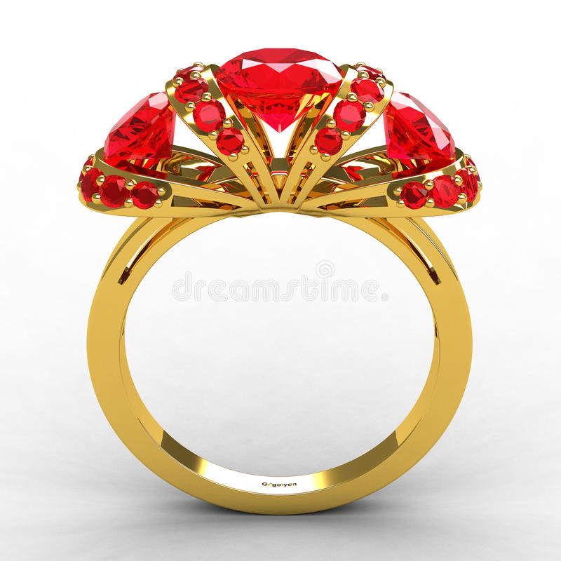 Modern Tiffany style gold ruby engagement ring. 3d royalty free illustration