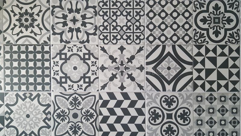 Tile designs in white and black grey colors. Modern tile designs in white and black grey colors royalty free stock photo