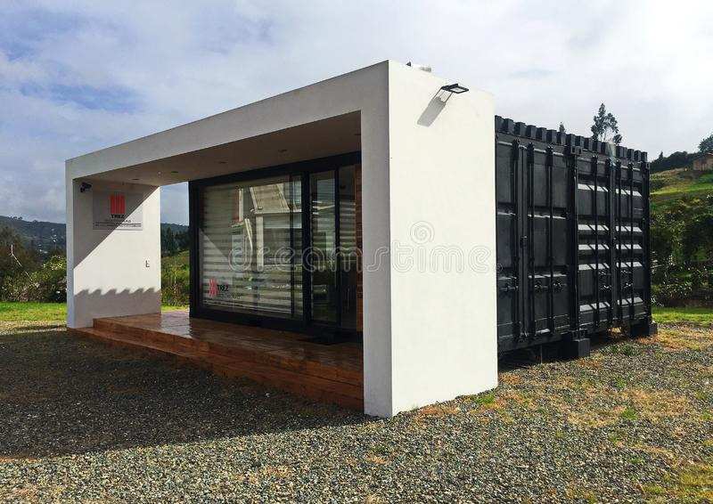 Modern, Tiny Shipping Container Home royalty free stock photography