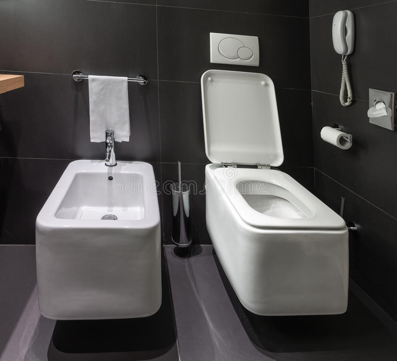 Modern Toilet And Bidet In Bathroom Stock Photo Image Of