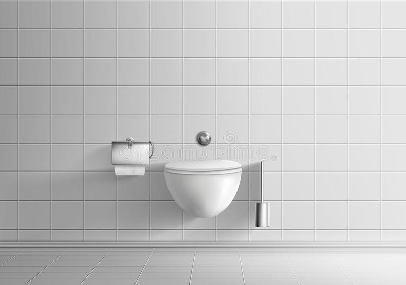 Toilet room with wall-hanging toilet bowl vector. Modern toilet room minimalistic interior realistic vector mockup with white tiled walls and floor, wall-hanging vector illustration