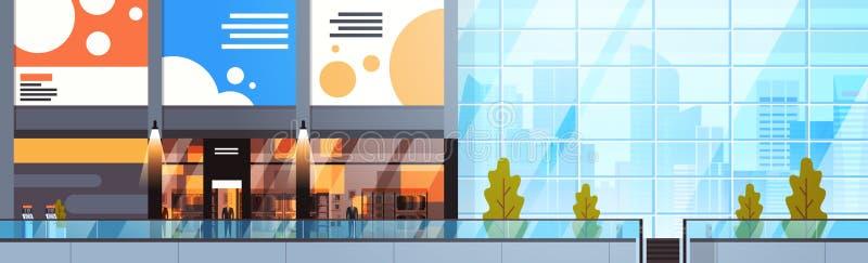 Modern tom köpcentruminre av horisontalbanret för stor stads- detaljist royaltyfri illustrationer