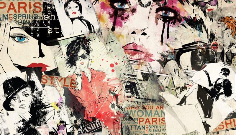 Modern tonårs- flicka på grungebakgrund royaltyfri illustrationer