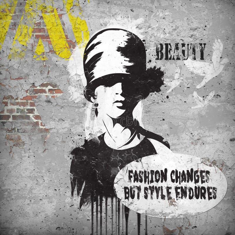 Modern tonårs- flicka på grungebakgrund vektor illustrationer