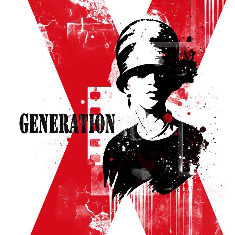 Modern tonårs- flicka på grungebakgrund stock illustrationer