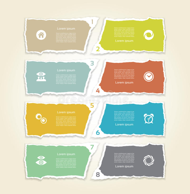 Modern torn paper for infographics. Vector infographics background royalty free illustration