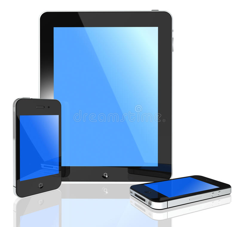 Modern touch screen -tablet pc and phone. 3d isolated tablet pc and phone on white background objects stock illustration