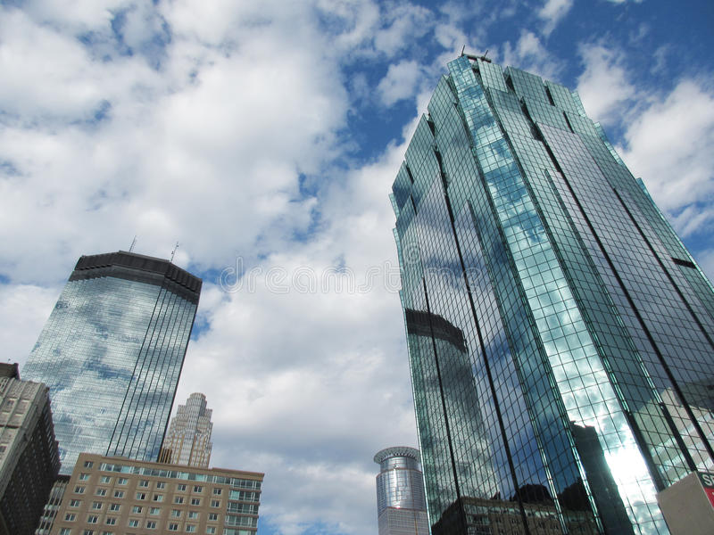 Modern Towers. Two glass covered modern towers in the business district royalty free stock photo
