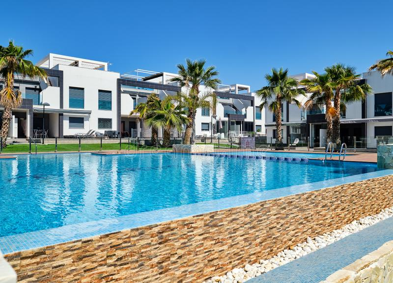 Modern town houses with swimming pool, Torrevieja, Spain stock photos